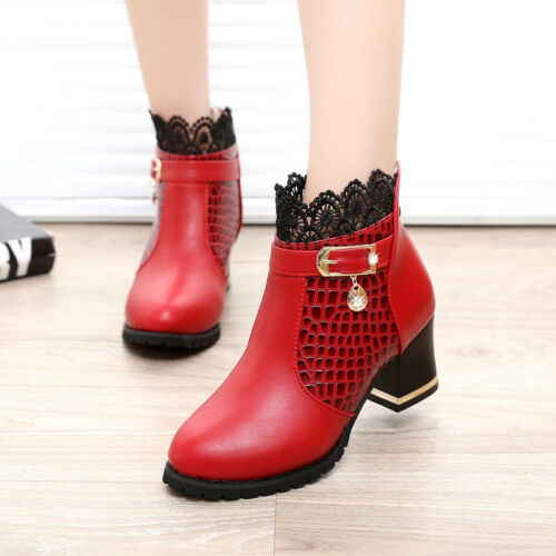 Women Fashion Red Martin Boots Floral Lace Winter Thermal Heighten Ankle Boots