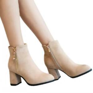 44-45-46-47-48-Women-Black-Apricot-Block-Heel-Zipper-Chelsea-Office-Work-Boots-D