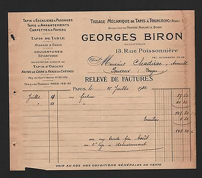 Paris, Rechnung 1932, Georges Biron Tissage Mécanique De Tapis