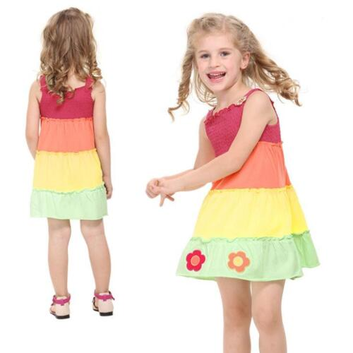 Girls summer colourful dress with embroidery flowers 18Months-6Years