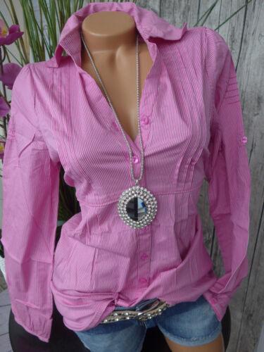 34 bis 44 Rosa Weiß mit Biesen 090 Cheer Stretch Bluse Gr NEU