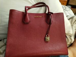 76909714b3631 Image is loading Michael-Kors-Mercer-Large-Convertible-Red-Leather-Tote-