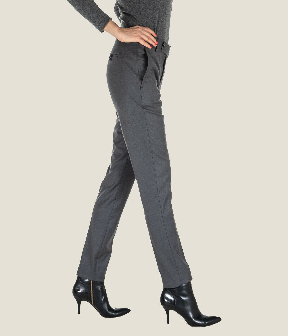 Woman Pants HANITA grau Wool Fitted p831.2205 Made in