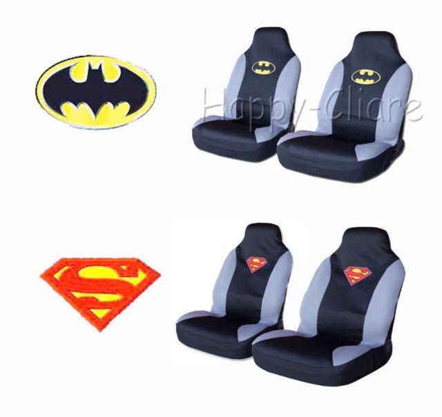 DC Comics Batman/Superman Emblem Logo Car Front Seat Cover 2pcs Set