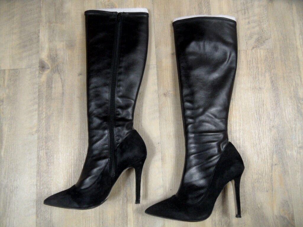 CAFE NOIR chice hohe Stiefel schwarz Gr. 37 TOP ZC1217