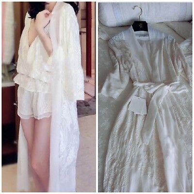 Luxury Embroidered White Floral 3 Pieces Set Sleepwear Nightwear