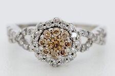 14K White Gold 5/8 CTW White & Cognac Diamond Flower Ring Size 5 1/2 (04034)