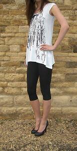 GemäßIgt Knee Length High Waist Leggings Stretch Elastane Crop Black 6 - 18 S M L