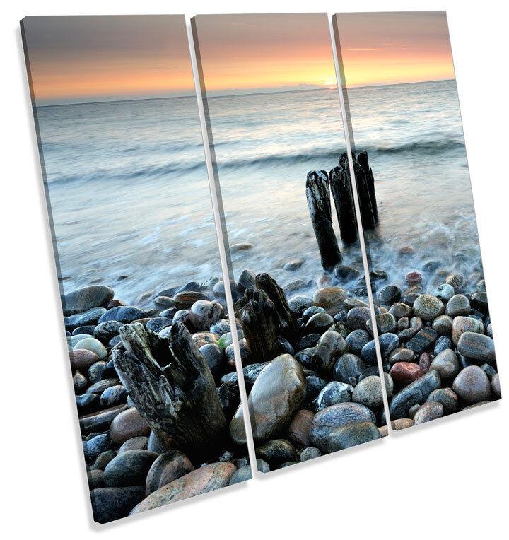Sunset Pebble Beach Seascape TREBLE CANVAS Wand Kunst Square Drucken Bild