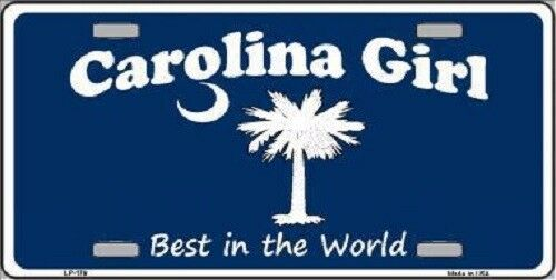 Carolina Girl Blue Metal Novelty License Plate