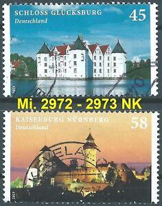 BRD-Bund-2013-Gluecksburg-u-Kaiserburg-Mi-2972-2973-NK-gestempelt-TOP