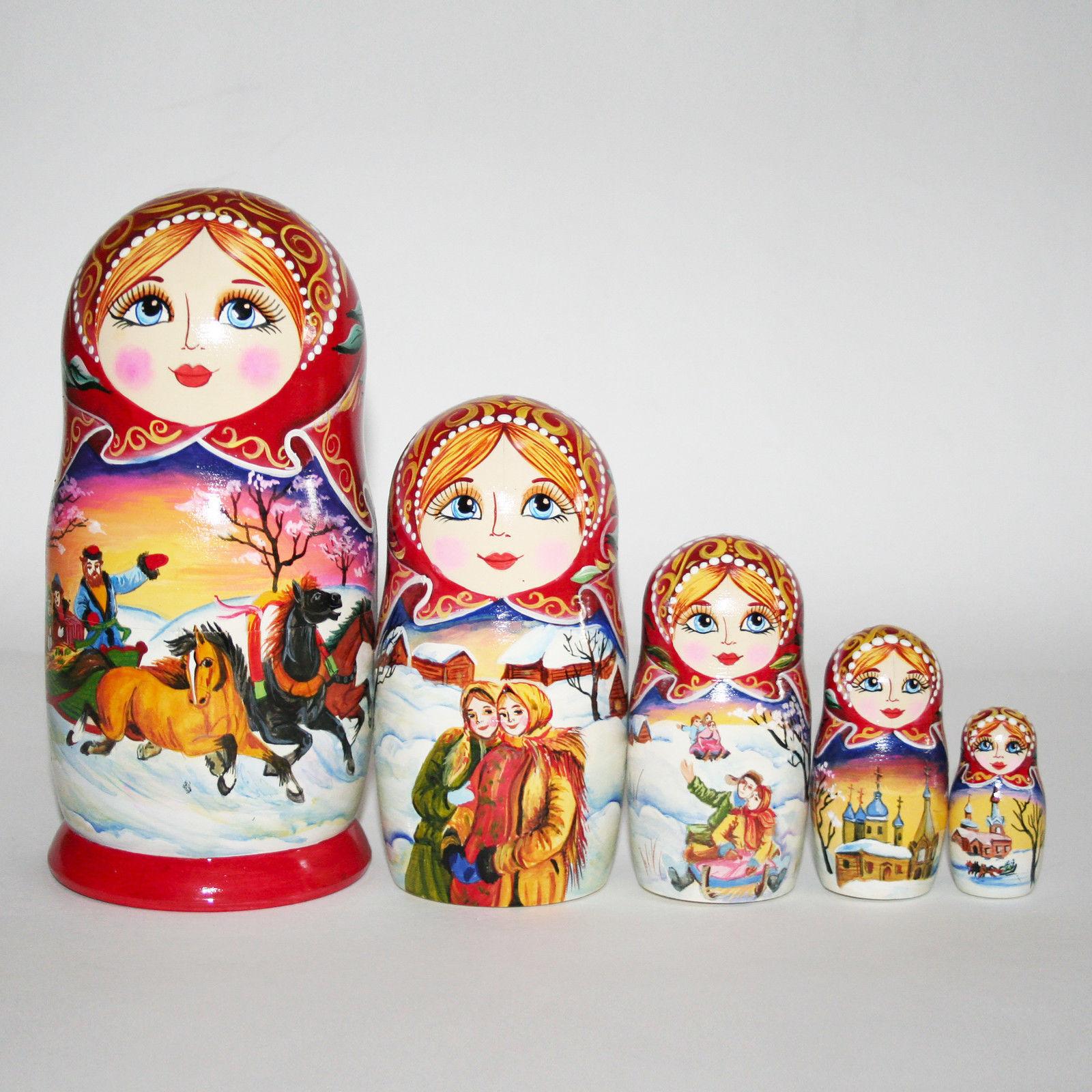 Nesting dolls Three Pferds Winter landscape Russian village Hand-Painted signed