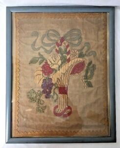 Antique-Victorian-Flower-Basket-Netting-Embroidery-Needlepoint-Framed-17x21-034