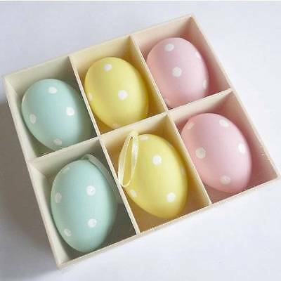 Gisela Graham Easter Decorations - 6 Pastel Polka Dot Eggs - Hanging Easter Decs