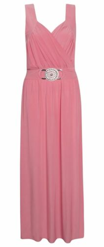LADIES LONG COCKTAIL BRIDE MAID FORMAL EVENING BUCKLE MAXI PARTY DRESS 16-26