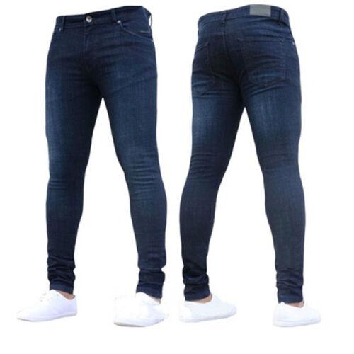 Mens Stretch Jeans Skinny Denim Pants Casual Biker Tight Slim Fit Trousers S-3XL