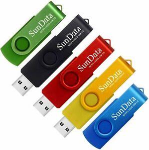 SunData Clé USB 32 Go Lot de 5 2.0 Flash Drive 32GB, Noir Bleu Vert Rouge Or
