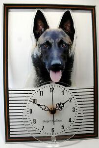 Horloge-pendule-chien-berger-malinois-4-clock-dog-uhr-hund-reloj-perro