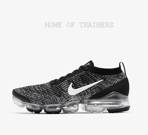 Detalles de Nike Aire Vapormax Flyknit 3 Negro Metalizado Plata Blanco Hombre Zapatillas en