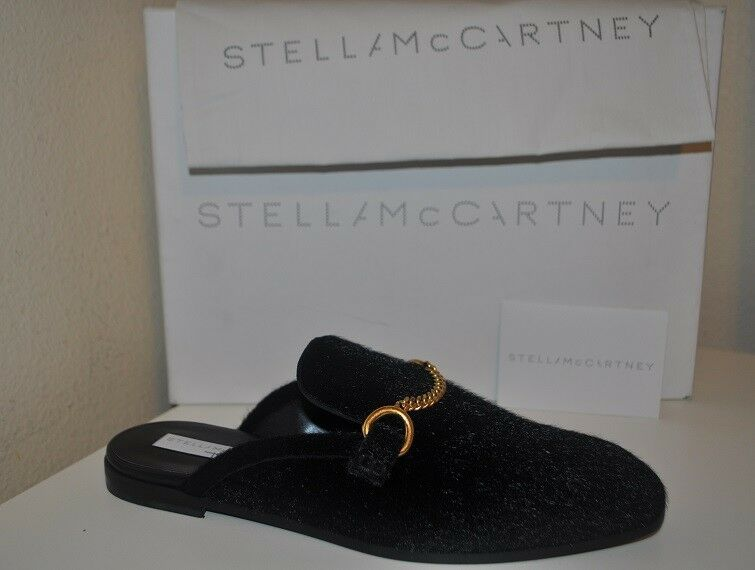 Nuevo En Caja Stella McCartney Zapato Mocasín mula plana de Cadena de oro de imitación de la Pantorrilla Cabello Negro 38 -8