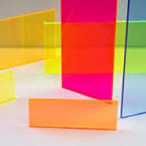 """pack of 4 Green Fluorescent Acrylic Plexiglass sheet 1//8/"""" x 3/"""" x 3/"""" #9093"""
