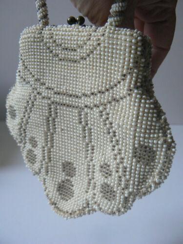 en de sml de couleur 1900 bon 1920 sac à d'époque crème main drame perles état mariage Vintage sac LSzUpGVjqM