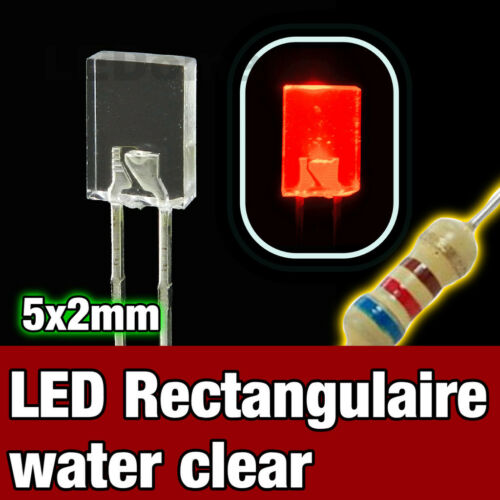 RED Rectangular LED 324R//100# LED Rectangulaire 5x2 mm  Rouge  100pcs