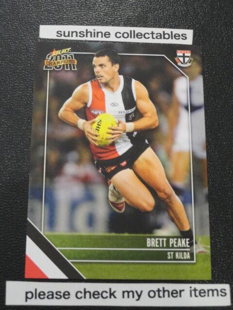 2011 AFL SELECT CHAMPIONS CARD NO.156 BRETT PEAKE ST KILDA