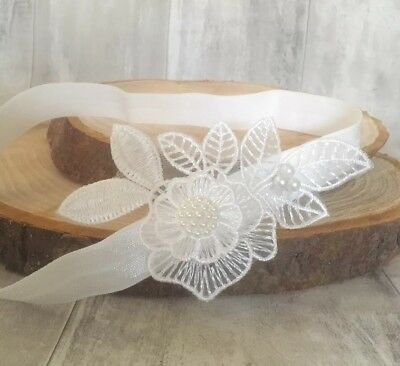 Royaume-Uni Bébé Blanc cassé Baptême bandeau baptême mariage photo Prop Fleur