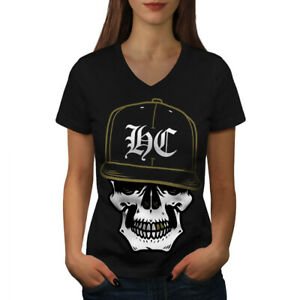 Wellcoda Skull Swag Gamer Womens V-Neck T-shirt, Rapper Graphic Design Tee