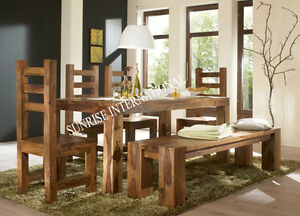 Chunky Wood Dining set ( 1 Table , 4 chair , 1 bench ) (SUN-DSET202)