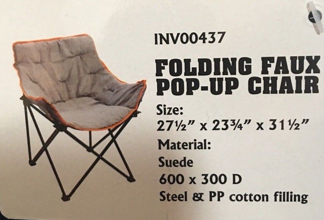 Outdoor Adventure Faux Suede Pop Up Padded Chair