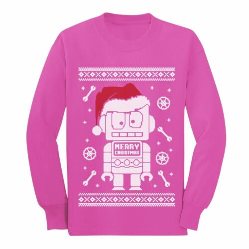 Xmas Funny Long sleeve kids T-Shirt Cute Robot Santa Ugly Christmas Sweater