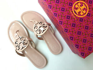 Tory-Burch-Miller-Sandal-Flip-Flops-in-Sea-Shell-Pink-Patent-Leather-Size-8-NWB