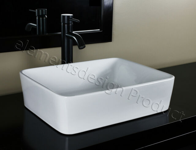 Bathroom Ceramic Vessel Sink With Oil Rubbed Bronze Faucet Drain