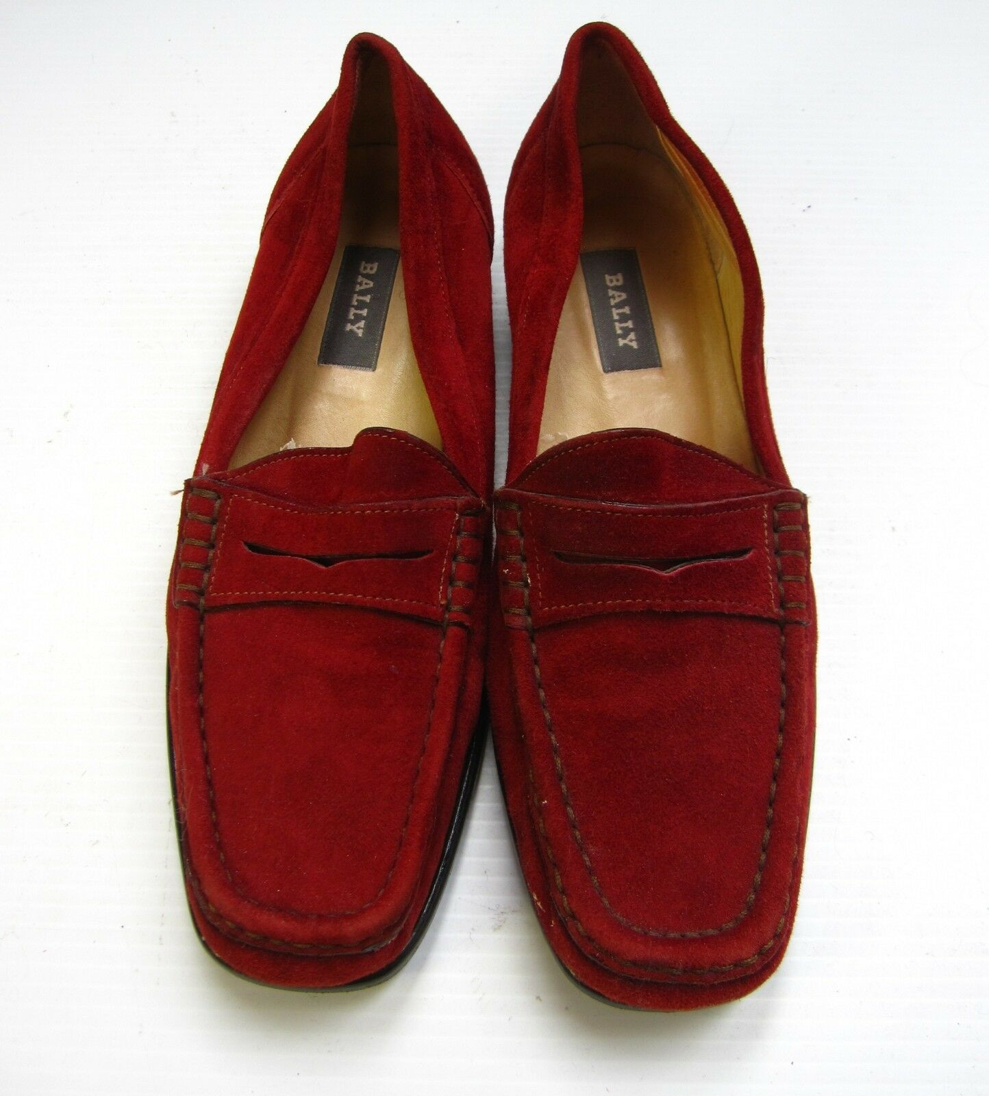 BALLY MADE IN ITALY SUEDE SLIP ON SHOES SIZE 7 1/2 M RED COMFORT