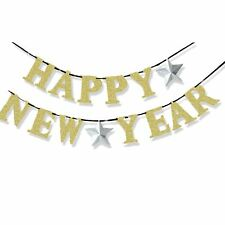 36m happy new year eve gold glitter garland banner bunting party decoration