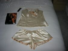 Stunning, Flirty and Feminine Cream Satin French Knickers Set by Irall - Sz Med