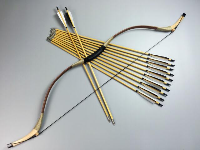 50lbs Handmade Pigskin Recurve bow Traditional hunting Longbow +12 wood arrows