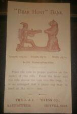 Original Mechanical Bank Advertising Flier.1880s Bear Hunt j.e Stevens co.