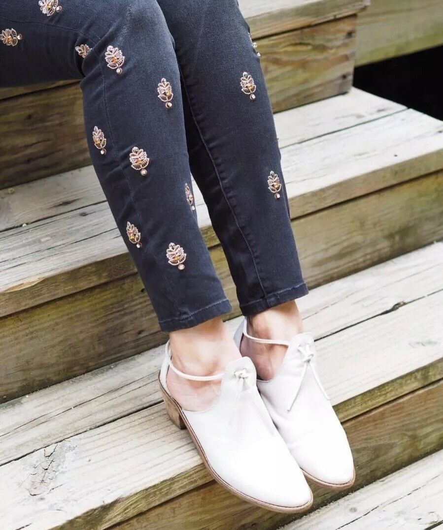 ANTHROPOLOGIE PILCRO SCRIPT HIGH-RISE EMBELLISHED SKINNY JEANS SIZE 26 NWT  158