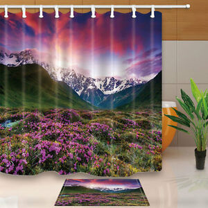 Snowy mountains and flowers Shower Curtain Bedroom Waterproof Fabric & 12Hooks