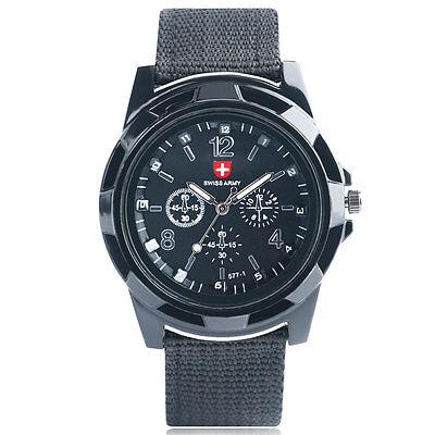 SWISS Round Dial Nylon Strap Band Men Boy Military Army Quartz Wrist Watch Gift