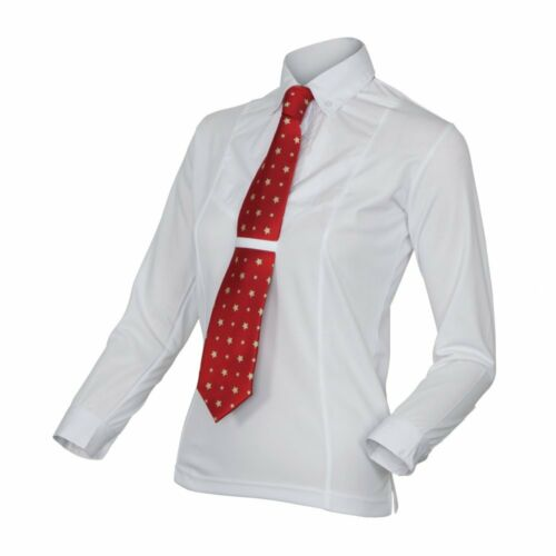 Shires Equestrian Ladies Long Sleeve Tie Shirt White Show, Competition, Riding