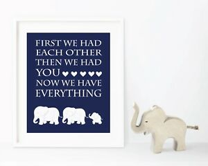Details About Navy Blue Boy Elephant Nursery Jungle Decor Family Print