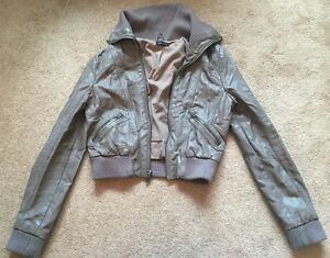 Topshop-Mink-Faux-Leather-Bomber-Biker-Style-Jacket-Cost-UK-Size-10