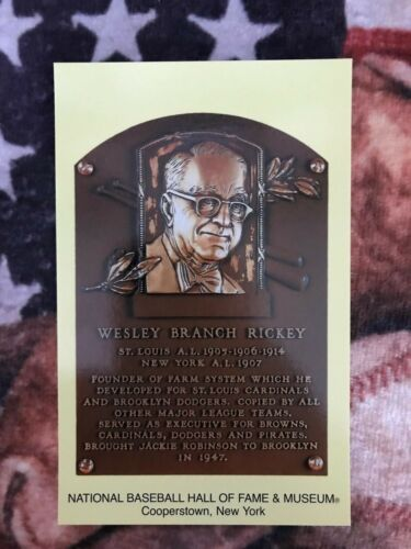 Dodgers Photo Branch Rickey Postcard Baseball Hall of Fame Induction Plaque