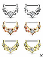 Pair Square Gem Centered Floral Fan Nipple Clickers Shields Rings Body Jewelry