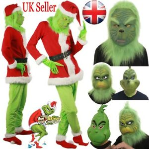 How The Grinch Stole Christmas Costumes.Details About Uk Santa Grinch Cosplay Costume How The Grinch Stole Christmas Outfit Fancy Mask