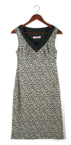 Sweet Chemise Womens Small Black Brown Dress Leopa
